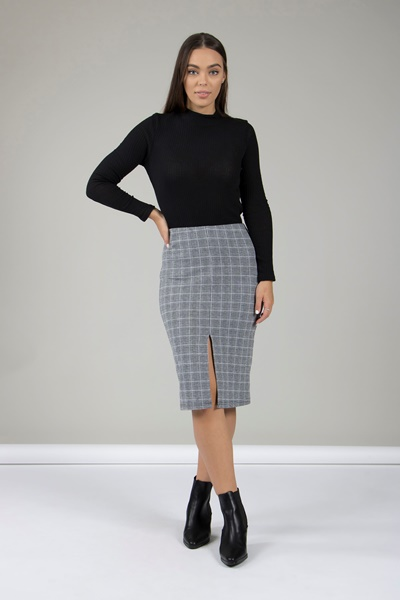 Check Print Pencil Skirt