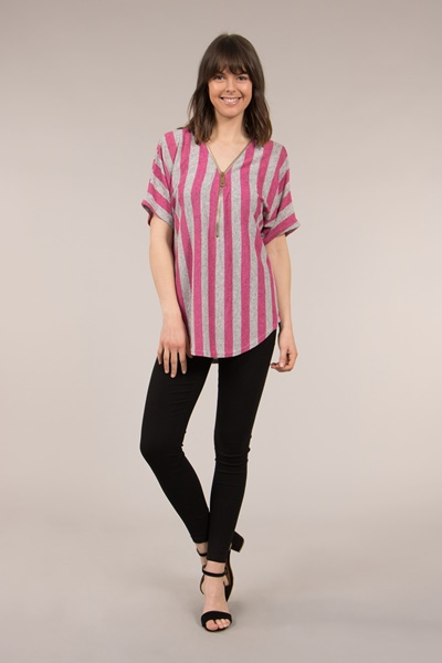 Stripe Zip Front Top