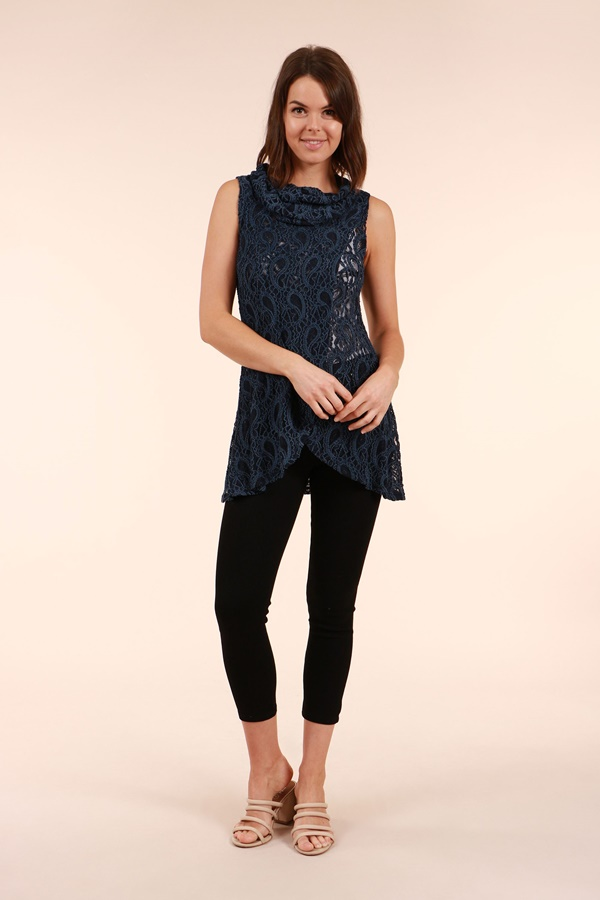 Cowl Neck Crossover Top