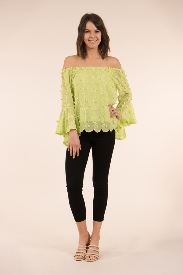 OFF SHOULDER FLARED SLEEVE LACE TOP
