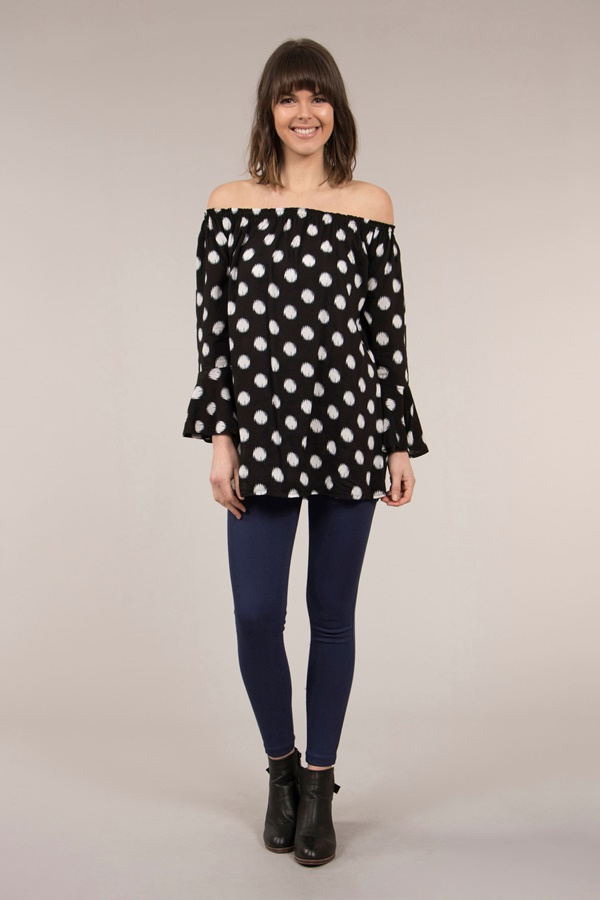 Polka Dot Off Shoulder Tunic Top