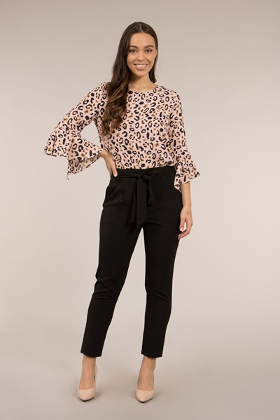 Flute Sleeve Animal Print Top