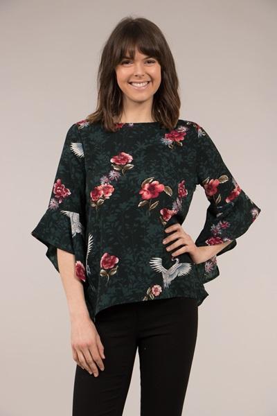 Floral Crane Print Frill Sleeve Blouse