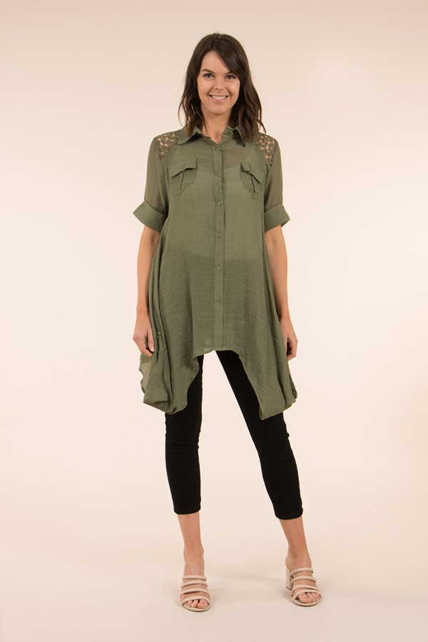 Tunic with Turn Up Sleeves