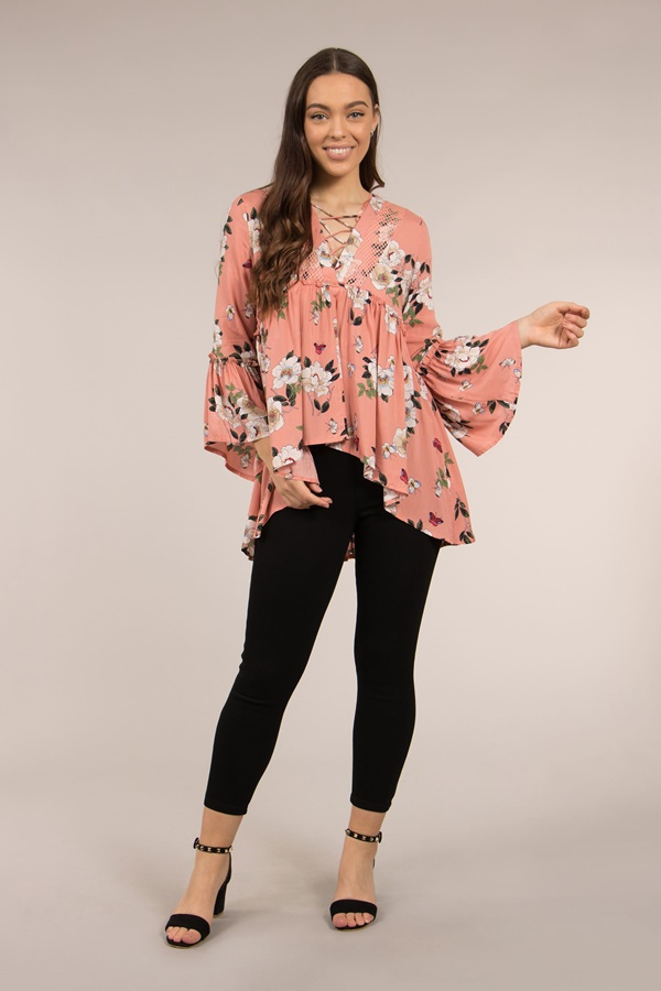 WAIST FRILL LACE UP FLORAL TOP