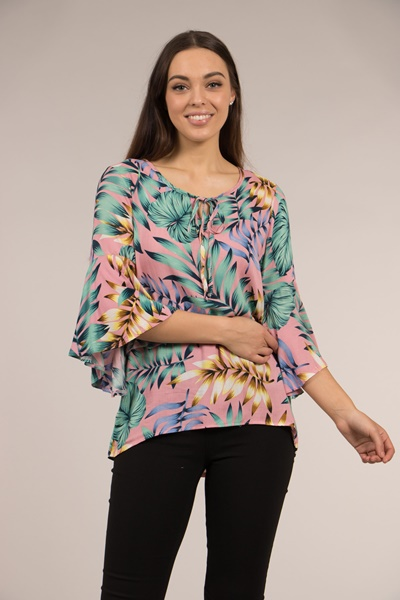 Flute Sleeve Tropical Print Top
