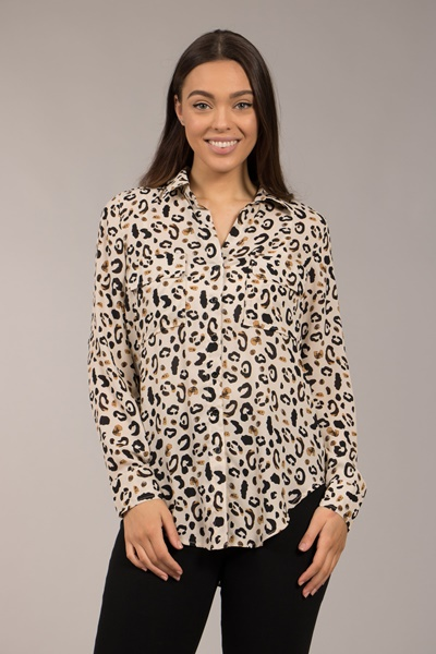 Long Sleeve Animal Print Shirt