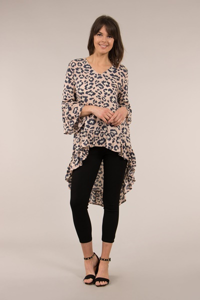 Animal Print Frill Hem Blouse