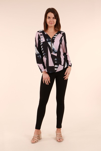 Printed Zip Front Top