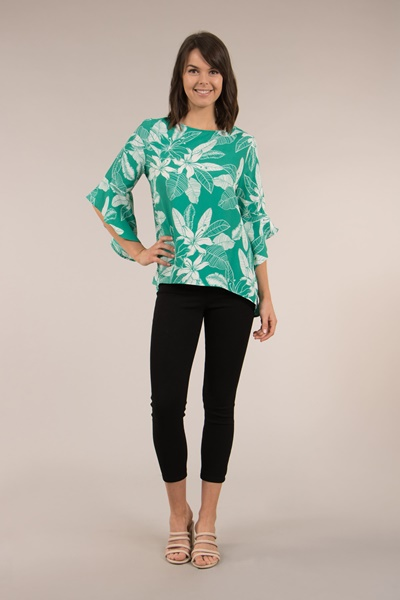 3/4 Flute sleeve floral top