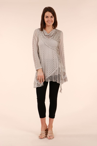 Patterned Cowl Neck Tunic