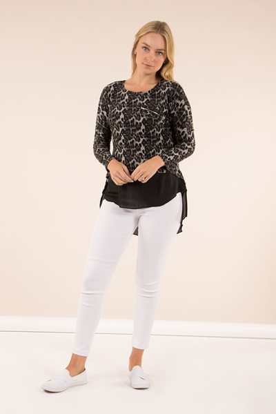 Animal Print Double Layer Top