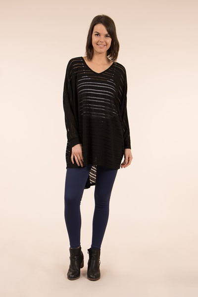 Sheer Batwing Sleeve Top