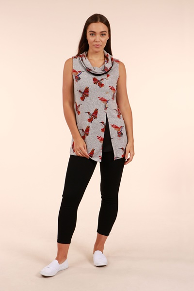Bird Print Cowl Neck Tunic