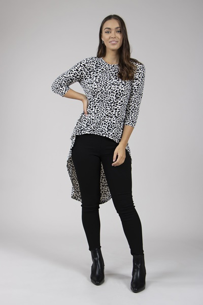 ANIMAL PRINT HI LO TOP