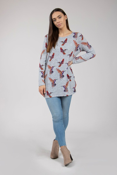 Bird print knit top