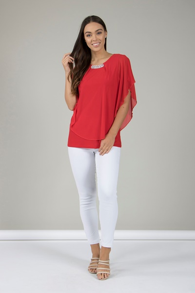 LAYERED BATWING BLOUSE