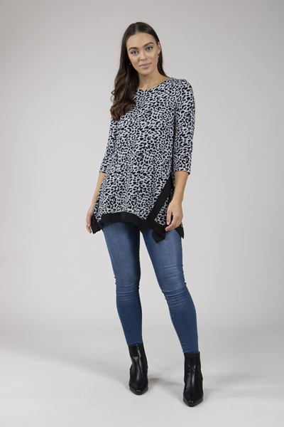 Animal Print Hanky Hem Top