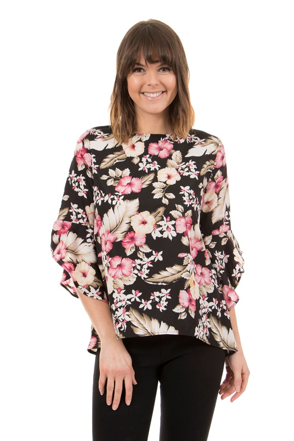 3/4 Flute sleeves printed top