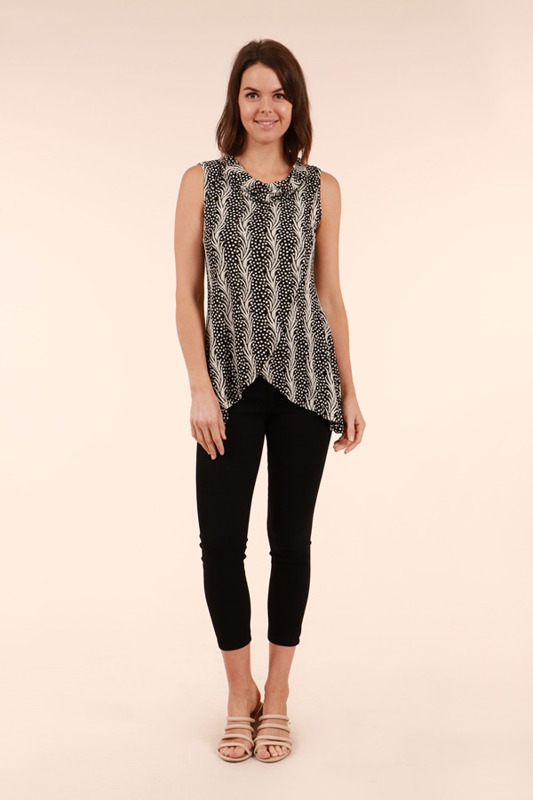 Printed Crossover Top