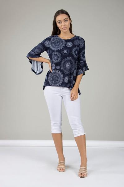 3/4 Flute sleeve printed blouse