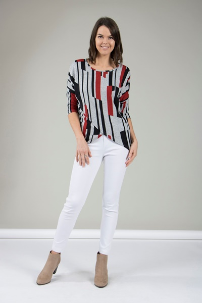 Abstract Print Knit Top