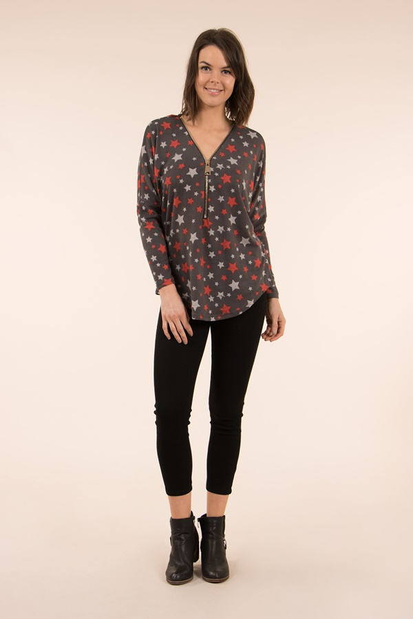 STAR PRINT ZIP FRONT TOP